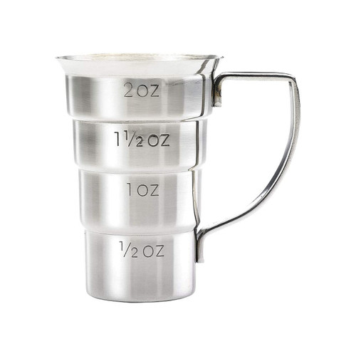 Mercer Barfly M37108 Stainless Steel 2 Oz. Stepped Jigger with Handle