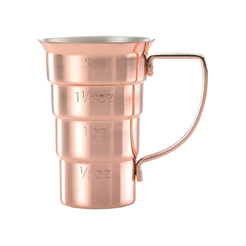 Mercer Barfly M37108CP Stainless Steel 2 Oz. Stepped Jigger with Handle, Copper Plated