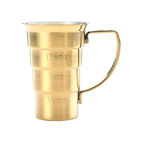 Mercer Barfly M37108GD Stainless Steel 2 Oz. Stepped Jigger with Handle, Gold Plated