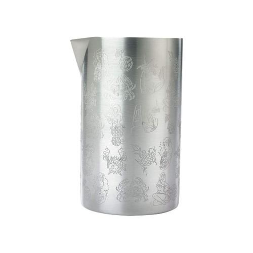 Mercer Barfly M37079 21 Oz. Double Wall Mixing Tin, Tiki Design, Stainless Steel