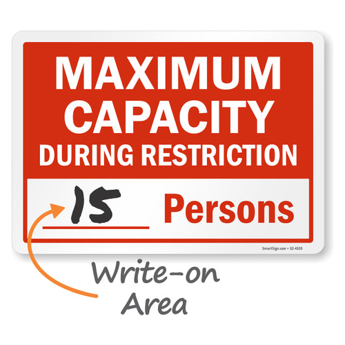 """MYSAFETY S2-4520-PL-10 Plastic Sign, 7"""" x 10"""", Maximum Capacity During Restriction"""