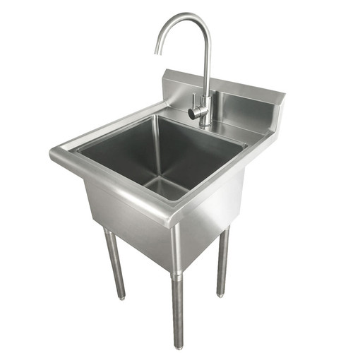 """Omcan HN-SK Stainless Steel Laundry Sink with Faucet, 18"""" x 16""""x13"""" Bowl Size"""