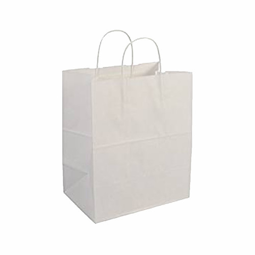 "Duro 88206 Bistro White Paper Shopping Bags, 10"" x 6.75"" x 12"" (250/Case)"
