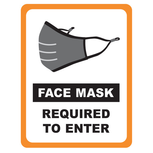 """Winco WC-811 """"Face Mask Required"""" Window Cling, 8.5"""" x 11"""" (2/Pack)"""