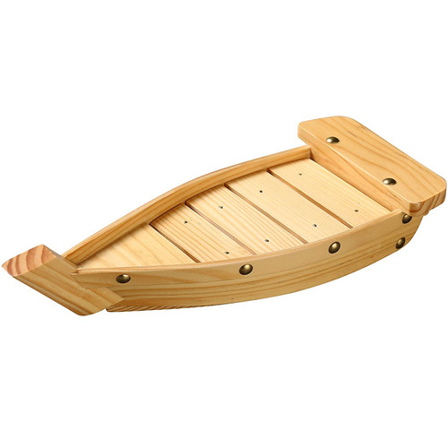 """Yanco WS-113 13.25"""" X 5.75"""" X 2.25"""" Wooden Sushi Boat (Pack of 12)"""