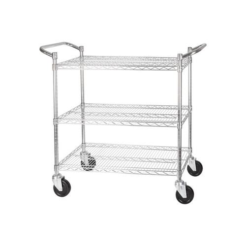 """Winco VCCD-1836B Chrome Plated Wire Utility Cart, 3-tier, 18"""" x 36"""""""