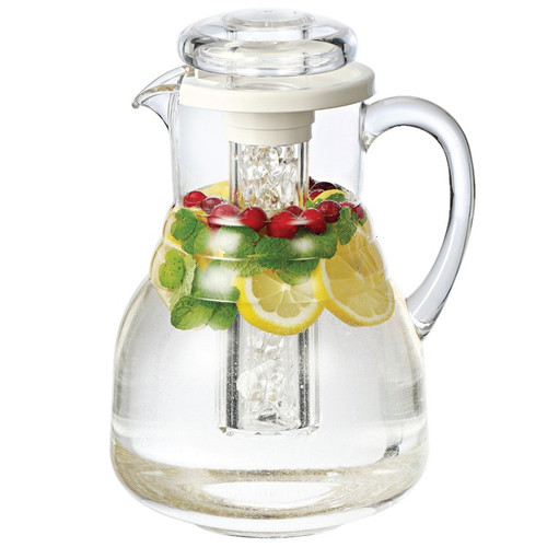 Service Ideas MWP33RB Clear Plastic Pitcher with Lid & Ice Tube, 3.3 L