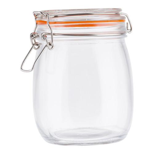 Tablecraft 10366 Resealable Glass Canister with Clip-Top Lid, 25 Oz