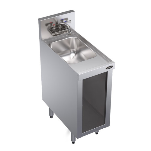 "Krowne KR24-S12C 12""W Underbar Hand Sink Unit with Open Front Cabinet Base"