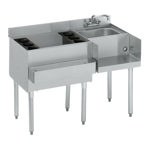 "Krowne 18-W42L 42"" Workstation with Ice Bin and Dump Sink, Ice Bin on Left"