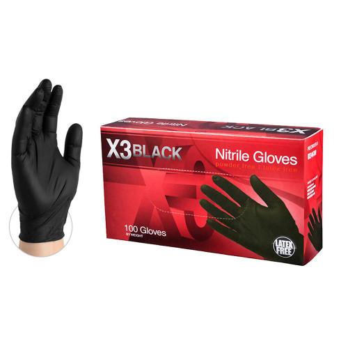 AMMEX BX346100 Black Nitrile Gloves, Powder Free, Large, (100/Box)