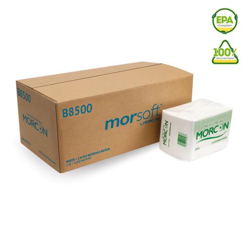 Morcon B8500 Beverage Napkins, White, 4000/Case