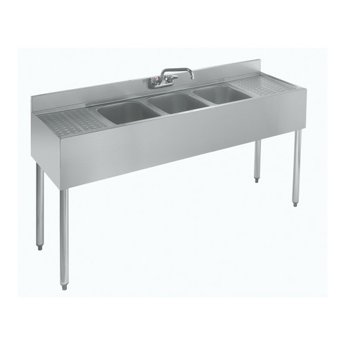 """Krowne 18-53C 60"""" 3-Compartment Bar Sink with Drainboards"""