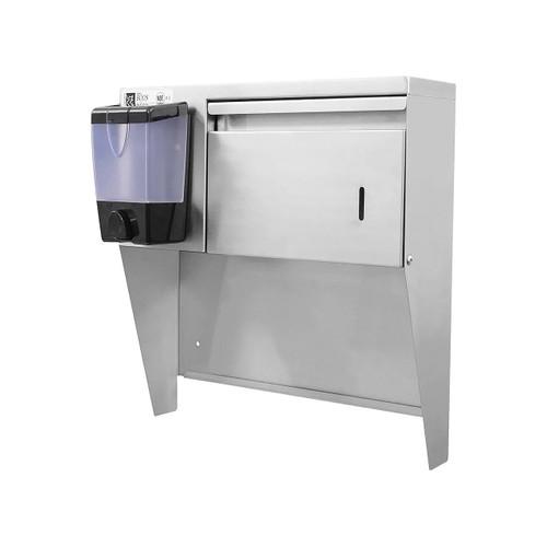 "John Boos PB-STD-1410-X Stainless Steel Wall Mount Paper Towel & Soap Dispenser for 17""W Hand Sinks"