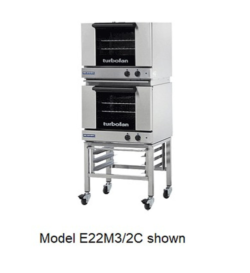 Moffat E22M3/2C 3 Tray Half Size Electric Convection Oven, Manual Control - Doublestack W/ Casters