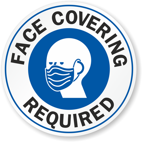 """MYSAFETY LB-4278-EU-4-CIR-R Face Covering Window Decal, 4"""" Round, """"Face Covering Required"""""""