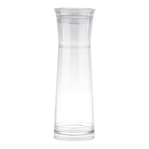 Tablecraft 10111 40 Oz. Clear Gravity Flow Plastic Carafe with Strainer