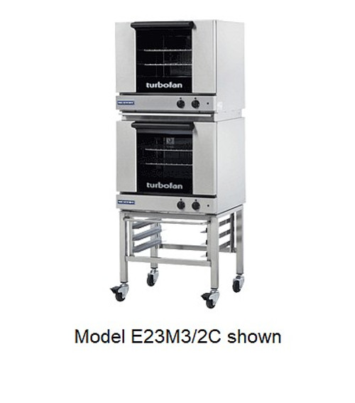 Moffat E23M3/2C 3 Tray Half Size Electric Convection Oven, Manual Control - Doublestack with Casters