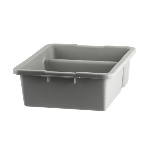 "Tablecraft 1547G Polyethylene Divided Gray Tote Box, 21"" x 17"" x 7"""