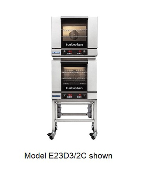 Moffat E23D3/2C 3 Tray Half Size Electric Convection Oven, Digital Control - Doublestack with Casters