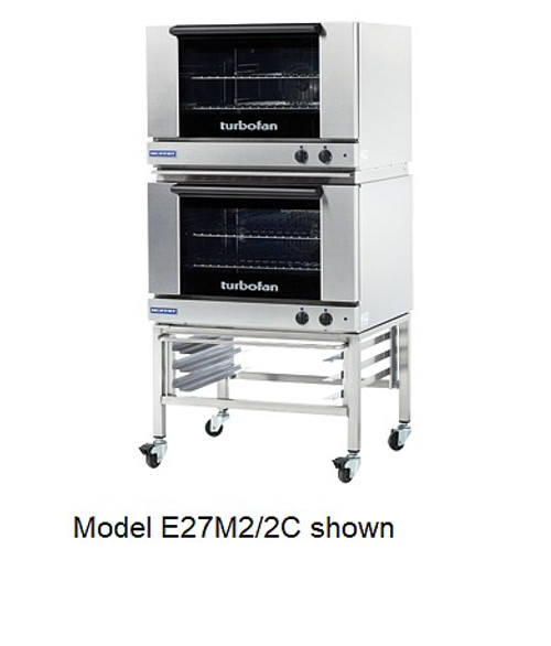 Moffat E27M2/2C 2 Tray Full Size Electric Convection Oven, Manual Control - Doublestack with Casters