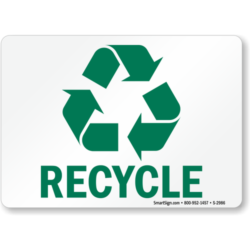 """MYSAFETY S-2986 5"""" x 7"""" Recycling Signs Label with Graphic"""