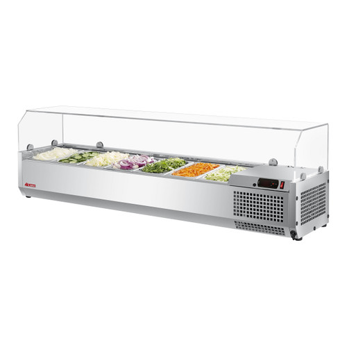 """Turbo Air CTST-1500G-N 59"""" Counter Top Salad Table Refrigerator with Clear Hood, 115V"""