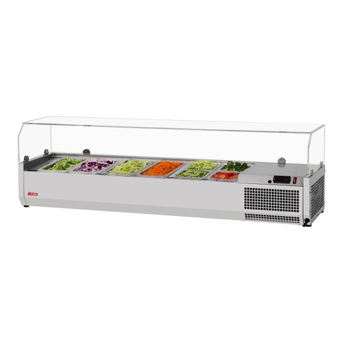 """Turbo Air CTST-1500G-13-N 59"""" Counter Top Salad Table Refrigerator with Clear Hood, 115V"""