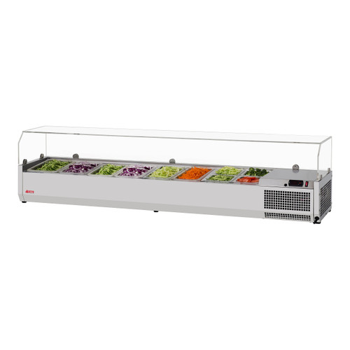 """Turbo Air CTST-1800G-13-N 70"""" Counter Top Salad Table Refrigerator with Clear Hood, 115V"""
