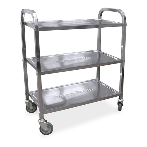 """Omcan 24418 Stainless Steel Bussing Cart with 27.25"""" x 15.75"""" Tray Size"""
