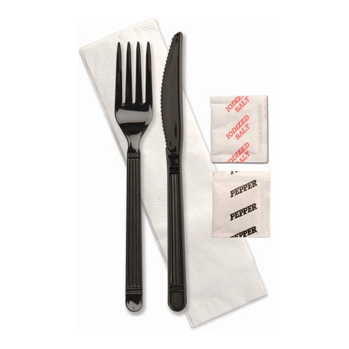 D&W F250E2PCSPKIT Individually Wrapped Cutlery Combo, Knife, Fork, Spoon, Salt, Pepper, and Napkin (250/Case)