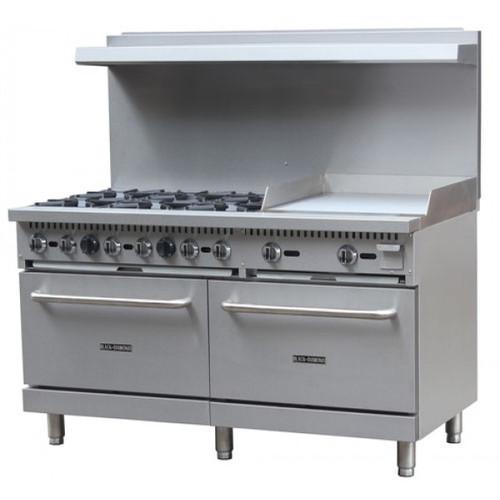 """Adcraft BDGR-6024G/NG 60"""" Gas Range w/ Oven and 24"""" Griddle - 6 Burners - 280K BTU"""
