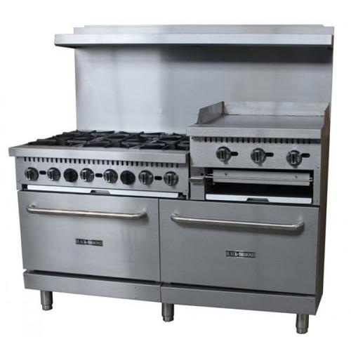 "Adcraft BDGR-6024GB/NG 60"" Gas Range w/ Oven and Raised 24"" Griddle - 6 Burners - 276K BTU"