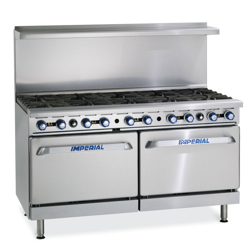 "Imperial IR-10-NG 60"" Gas Restaurant Ranges, 10 Open Burners, 2 Standard Ovens, Natural Gas"