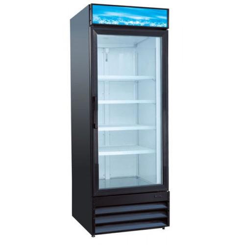 """Adcraft USRFS-1D/B 28"""" Swing Glass Door Merchandiser Refrigerator - 1 Door, 24 Cu. Ft. - Black"""