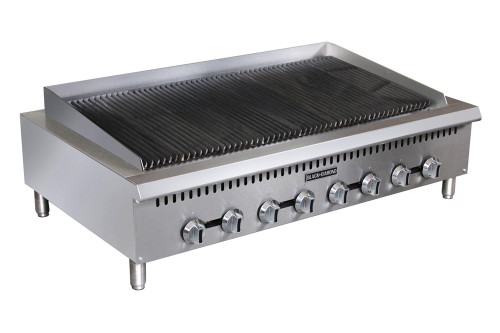 "Adcraft BDCTC-48 48"" Heavy Duty Radiant Gas Countertop Charbroiler - 8 Burners - 160K BTU"