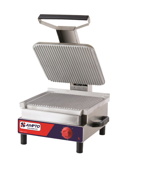 "Ampto SASE Ribbed Electric Panini Grill, 13"" x 14"", 120V"