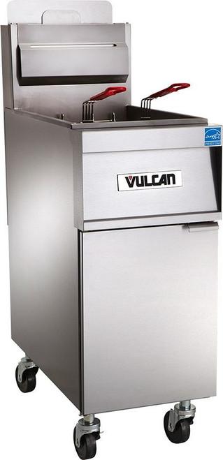 Front view of Vulcan 2TR45AF-1 140,000 Btu Natural Gas Free Standing Fryer with Filtration, 90 Lb, TR Series (2TR45AF-1)