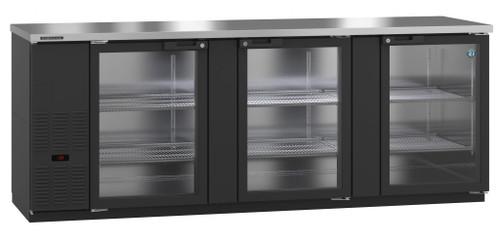 Hoshizaki HBB-4G-LD-95 Refrigerator, Three Section, Black Vinyl Back Bar Back Bar, Glass Doors