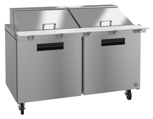 Hoshizaki SR60A-24M Refrigerator, Two Section Mega Top Prep Table, Stainless Doors