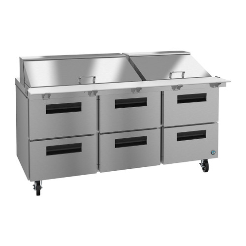 Hoshizaki SR72A-30MD6 Refrigerator, Three Section Mega Top Prep Table, Stainless Drawers