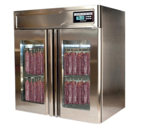 "Omcan STGPNTF60 43"" Glass Door Stainless Steel Meat Curing Cabinet - 132 lb., 220V, 2600W"