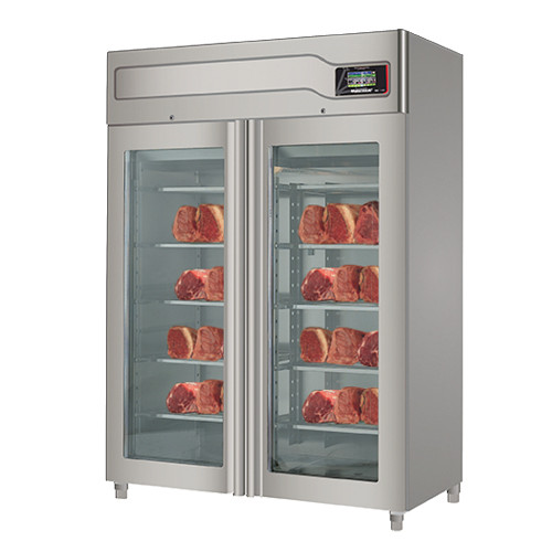 """Omcan MATC200TF 58"""" Glass Door Stainless Steel Meat Aging Cabinet - 440 lb., 220V, 4140W"""