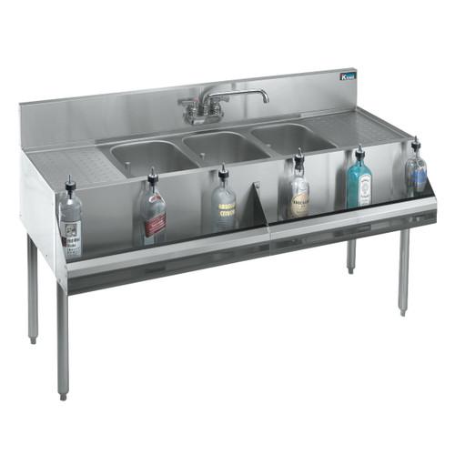 """Krowne KR18-53C 60"""" 3 Compartment Sink w/ 10""""W x 14""""L Bowl, 10"""" Deep"""