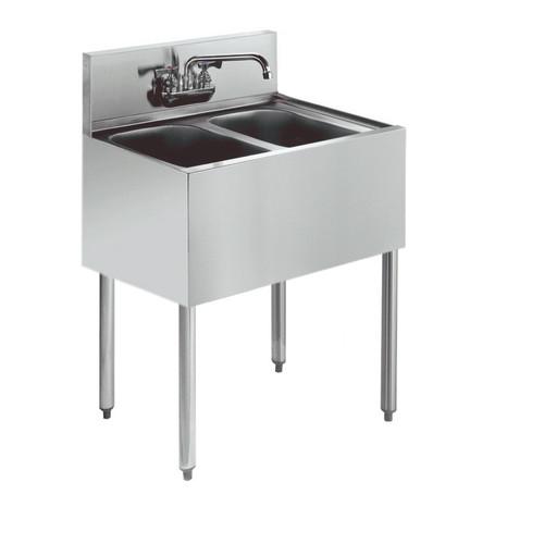 """Krowne KR18-22C 24"""" 2 Compartment Sink w/ 10""""W x 14""""L Bowl, 10"""" Deep"""