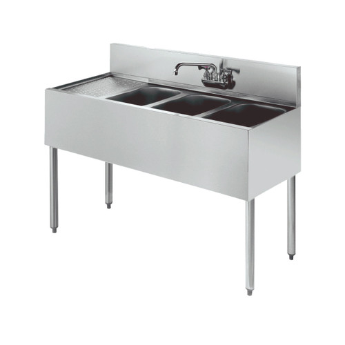 """Krowne KR18-43R 48"""" 3 Compartment Sink w/ 10""""W x 14""""L Bowl, 10"""" Deep"""