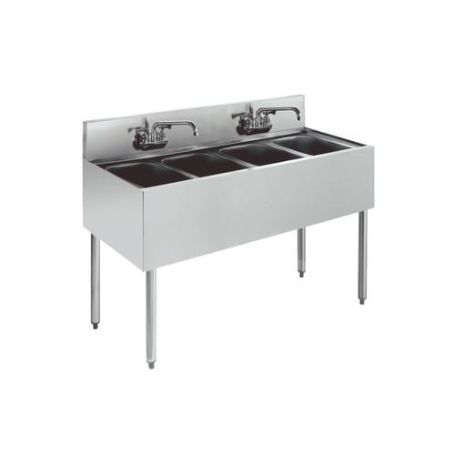 """Krowne KR18-44C 48"""" 4 Compartment Sink w/ 10""""W x 14""""L Bowl, 10"""" Deep"""