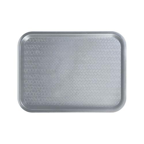 """Winco FFT-1216E 12"""" x 16"""" Gray Plastic Fast Food Tray"""