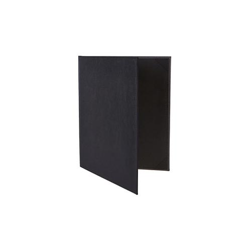 "Winco LMD-811BK 8-1/2"" x 11"" Black Two-View Menu Cover"