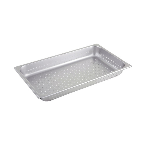 """Winco SPFP2 Full Size 2-1/2"""" Deep Perforated Stainless Steel Steam Pan - 25 Gauge"""